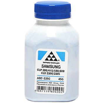 Тонер SAMSUNG CLP 300/315/320/325/360/415/500/510/600/610/660/CLX3300/3305 Cyan, (фл.45г.) AQC фас.