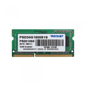 Память SO-DIMM DDR3 PATRIOT 4Gb 1600MHz PSD34G160081S RTL PC3-12800 CL11 204-pin 1.5В