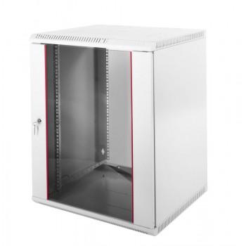 Шкаф настенный ЦМО ШРН-Э-18.650 18U 600x650мм пер.дв.стекл несъемные бок.пан. серый