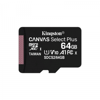 Флеш карта microSDHC 64GB microSDXC Class10 Kingston <SDCS2/64GB> Class10 UHS-I Canvas Select up to