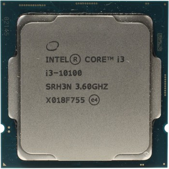 CPU Intel Core i3-10100 (3.6GHz/6MB/4 cores) LGA1200 BOX, UHD630  350MHz, TDP 65W, max 128Gb DDR4-26