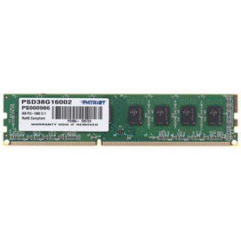 Память DDR3 Patriot 8Gb 1600MHz PSD38G16002 RTL PC3-12800 CL11 DIMM 240-pin 1.5В