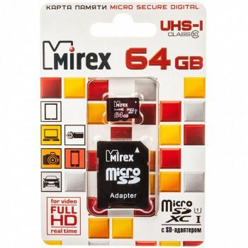 Флеш карта microSD 64GB Mirex microSDXC Class 10 UHS-I