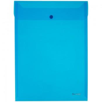 Папка-конверт с кнопкой BRAUBERG, вертикальная, А4, до 100 листов, прозрачная, синяя, 0,15 мм, 22497
