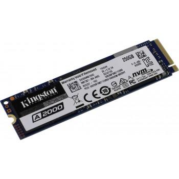 SSD M.2 Kingston 250Gb A2000 Series <SA2000M8/250G> (PCI-E 3.0 x4, up to 2000/1100Mbs, 180000 IOPS,