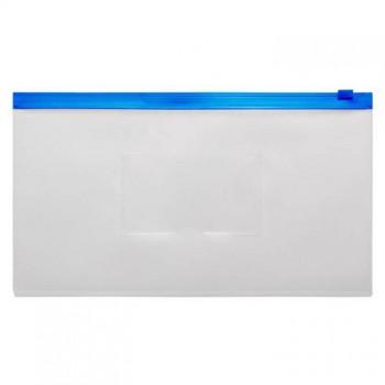Папка на молнии ZIP Бюрократ BPM6Ablue А6 карман под визитку ПП пластик 0.15мм синяя молния