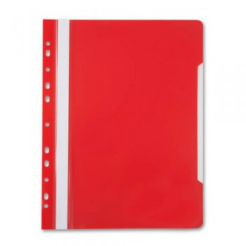 Папка-скоросшиватель Бюрократ PS-P20RED A4 прозрач.верх.лист боков.перф. пластик красный