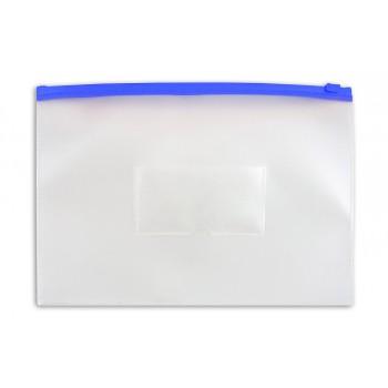 Папка на молнии ZIP Бюрократ PM4Ablue А4 карман под визитку ПВХ пластик 0.18мм синяя молния