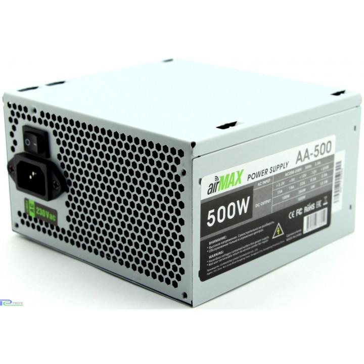 Блоки питания AirMax AA-500W Блок питания 500W ATX (24+4+6пин, 120mm (SCP)(OVP)(OCP)(UVP)ATX 12V