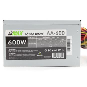 Блоки питания AirMax AA-600W Блок питания 600W ATX (24+4+6пин, 120mm (SCP)(OVP)(OCP)(UVP)ATX 12V