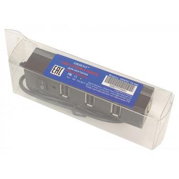 Концентратор USB 2.0 Orient TA-400, 4 Ports, 3xUSB сверху, 1xUSB с торца, выключатель,