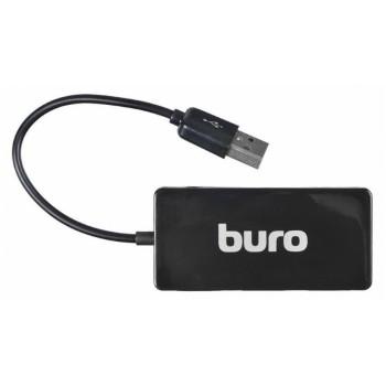Разветвитель USB 2.0 Buro BU-HUB4-U2.0-Slim 4порт. черный