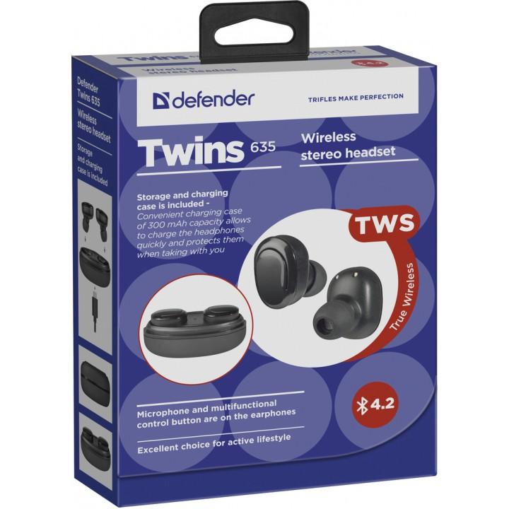 Гарнитура Defender Twins 635 черный, TWS, Bluetooth