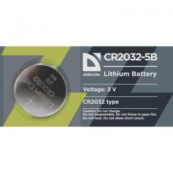 Батарейка Defender литиевая CR2032-5B в блистере 1 шт