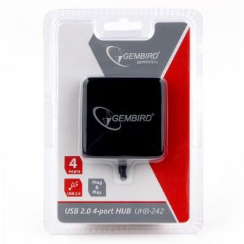 Концентратор USB 2.0 Gembird UHB-242, 4 порта, блистер, черный