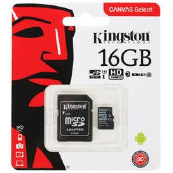 Флеш Карта MicroSD 16GB Kingston Class 10 UHS-I U1 Canvas Select [SDCS/16GBSP]