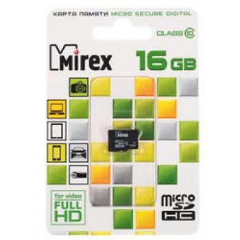 Флеш Карта MicroSD 16GB Mirex MicroSD Class 10