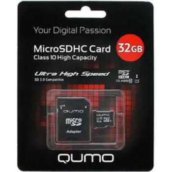 Флеш Карта MicroSD 32Gb QUMO QM32GMICSD10NA {MicroSD Class 10}
