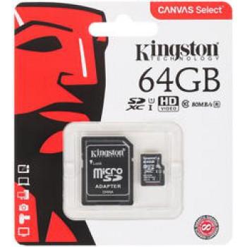 Флеш Карта MicroSD 64GB Kingston Class 10 UHS-I U1 Canvas Select [SDCS/64GBSP]