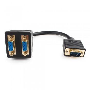 Разветвитель VGA Cablexpert CC-VGAX2-20CM, HD15M/2x15F, 1 компьютер - 2 монитора